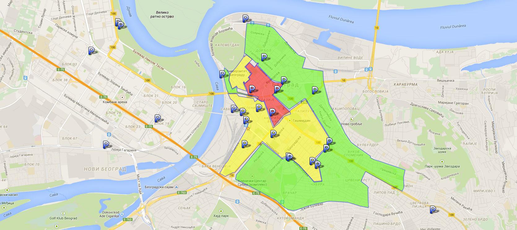 mapa parking zona beograd Duletov blog | Parkiranje, garaže i zone u Beogradu mapa parking zona beograd