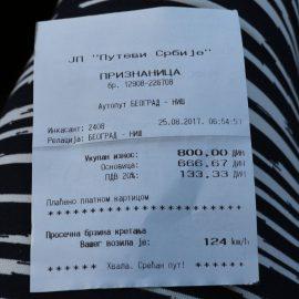 Minimalna vremena vožnje između dve naplatne rampe u Srbiji – prosek 130km/h