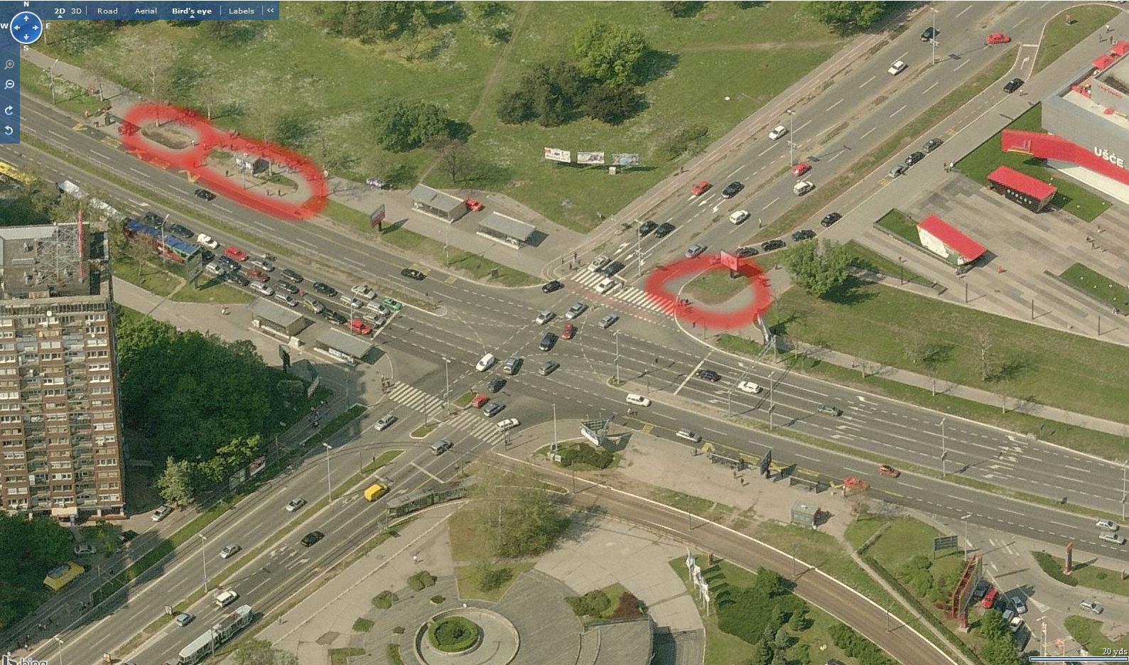 Predlog za preuređenje zelenih površina kod TC Ušće i autobuske stanice